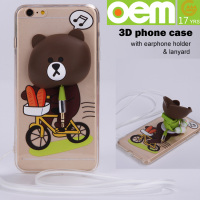 new fashion cartoon transparent mobile phone case with earphone holder and strap