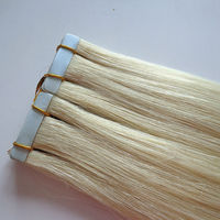 Factory Price European Skin Weft Virgin Hair PU Tape Hair Blonde to White Mixed Color Straight Hair Extension