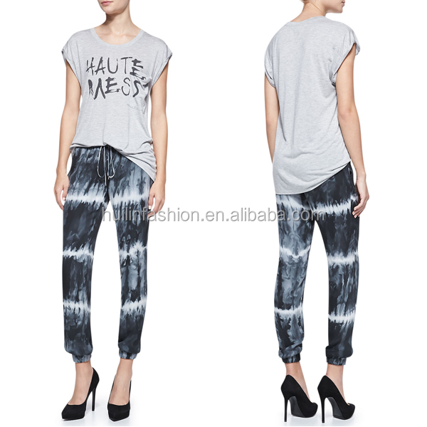 2015 wholesale lady fashion pleated tie dye hippie harem pants