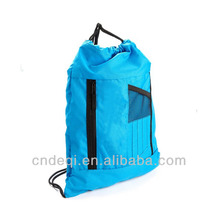 Blue Unisex City Sackpack Drawstring Backpack Bag With Name Card Pocket Back