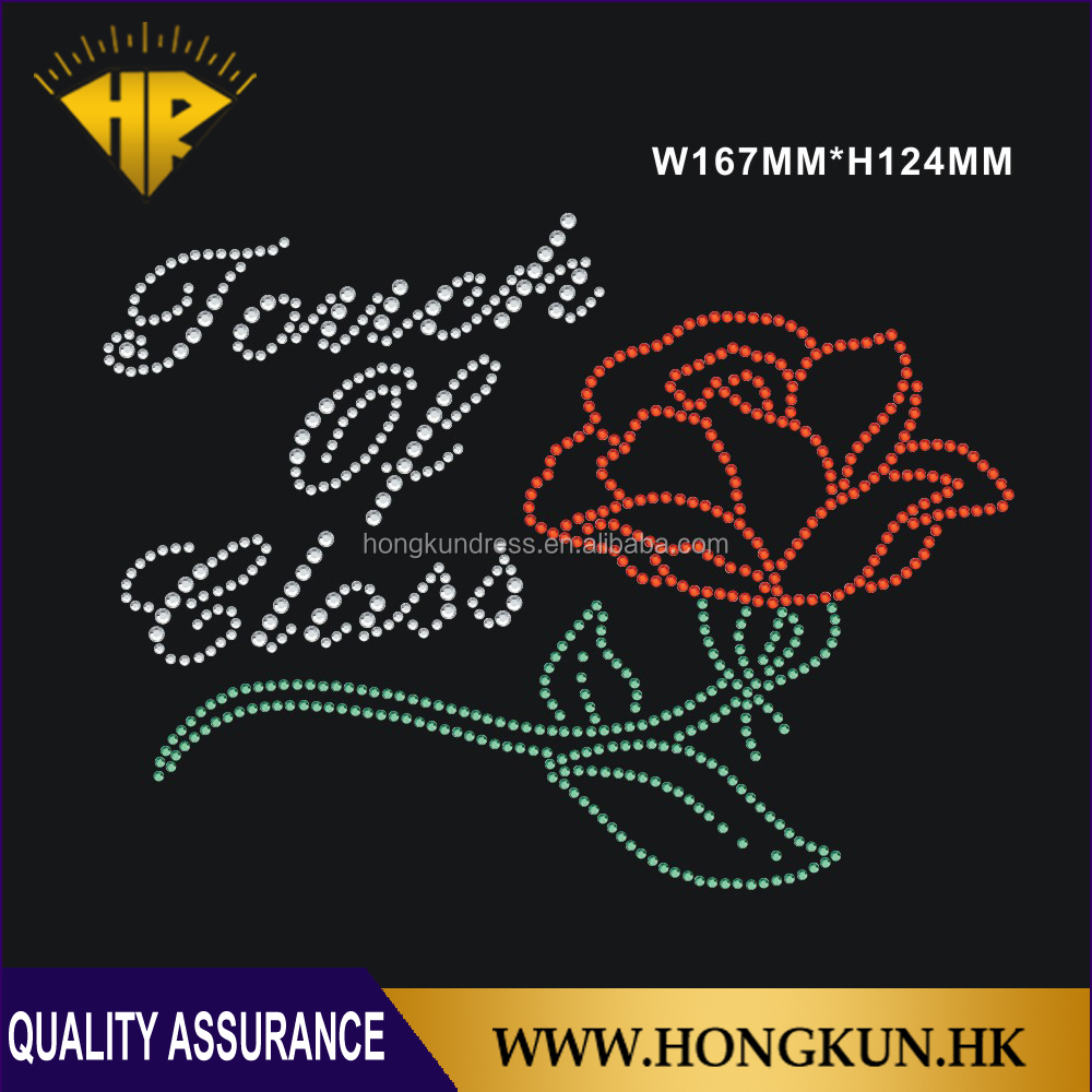 Red Rose Design rhinestone iron on transfer for clothing, Hot Fix Rhinestone