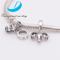 Animal Charms 925 Silver Antelope Head Charm Pendant Silver Bracelet Charm Wholesale