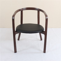 italian corrected leather ash wood frame and legs high density sponge Ming chair