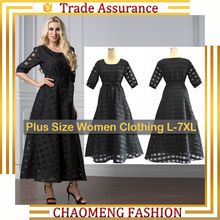 9065# Ready Made Plus Size Women Clothing I Ladies Dresses Organza Maxi Big Swing Retro 50s Rockabilly Petticoat Dress Vintage