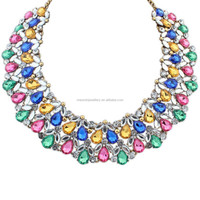Trendy fashion diamond crystal women latest design beads necklace