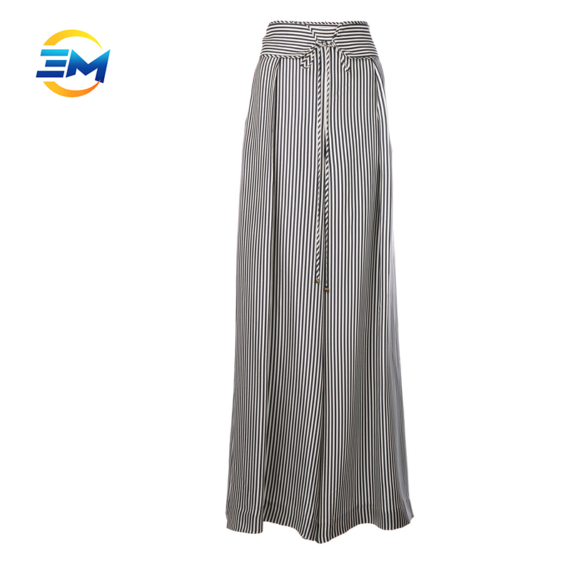 Wholesale silk blend stripe fashion women dress pants tuinc tie waist long pants