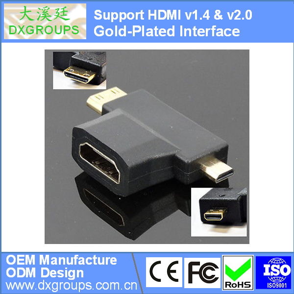Gold-Plated 3 in 1 HDMI Female to Mini HDMI Male / Micro HDMI Male Adapter (v1.4 & v2.0 3D) For HDTV For DVD for Projector