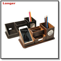 Wholesale pu leather handmade pen holder with clock pen holder with memo pad holder