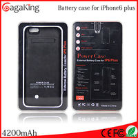 Case for iphone 6 plus 4200mAh wholesale cell phone flip leather portable charger