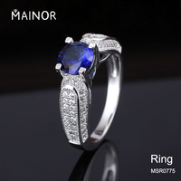 Silver stone ring design AAA CZ rings aquamarine ring