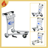3 wheels stainless steel airport luggage cart with hand brake