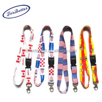 Dye sublimation Heat-transfer Digital Full Color Printed Custom Lanyards