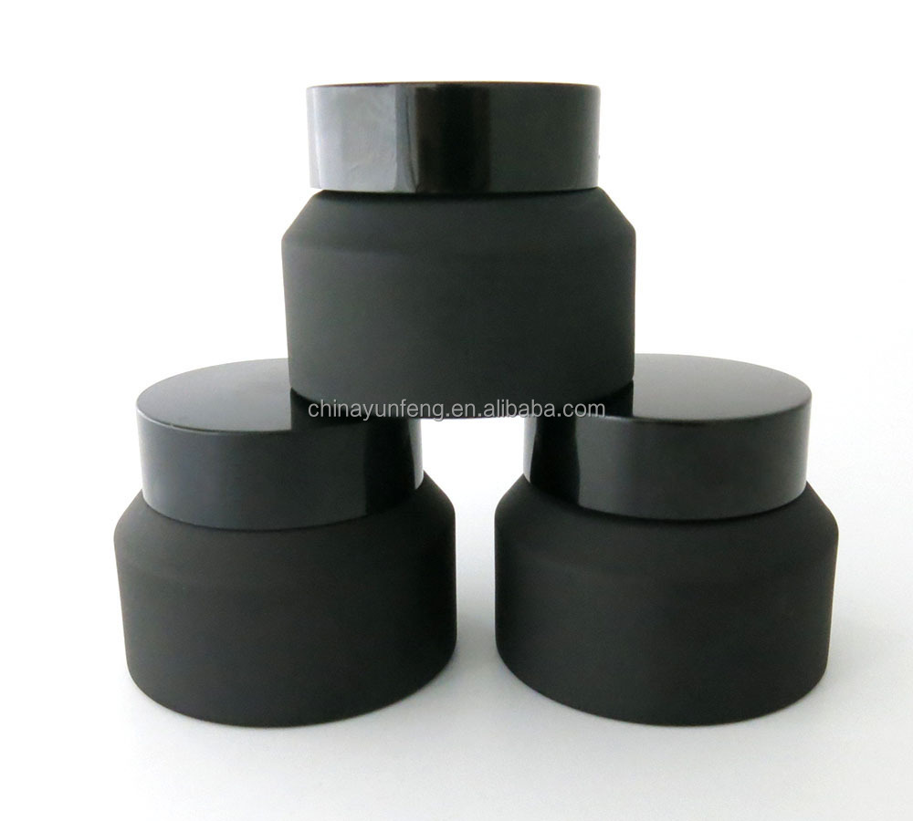 New design 15g small frost black cosmetic jar, 1/2 oz matte black container with wide open mouth