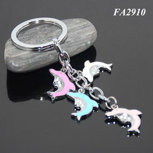 Rhinestones Cute Animal Dolphin Shape Key Ring Dolphins Accessories Zinc Alloy Key Holders Fashion Metal Dolphin Key Chain