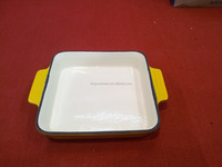 white enamel coating rectangular cast iron cookware