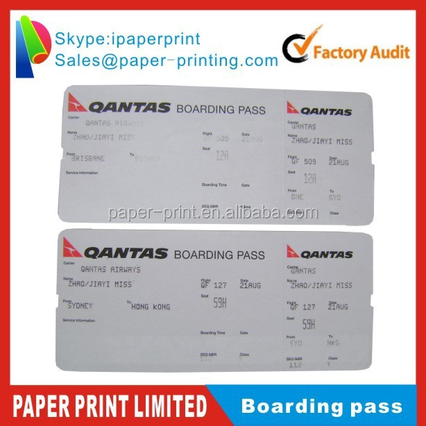 white board paper adhesive stickers boarding pass printing