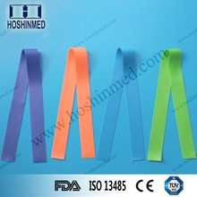 Three unique packing options smooth and textured pre-cut tourniquets blue/green/orange
