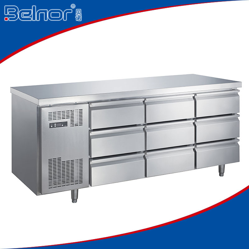TCO.4N9W/Skillful manufacture commercial nine drawer under counter display refrigerator