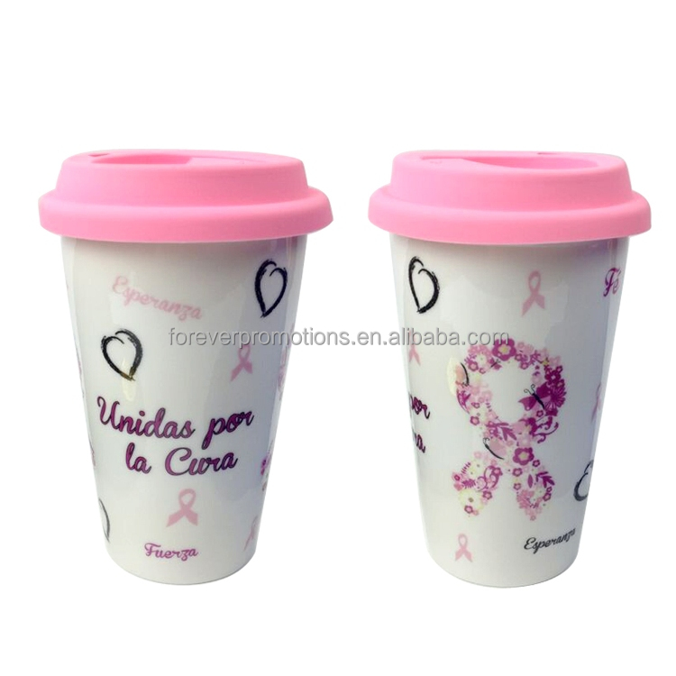 2015 New Pink Ribbon Breast Cancer Printed Ceramic Mugs With Silicone Lid