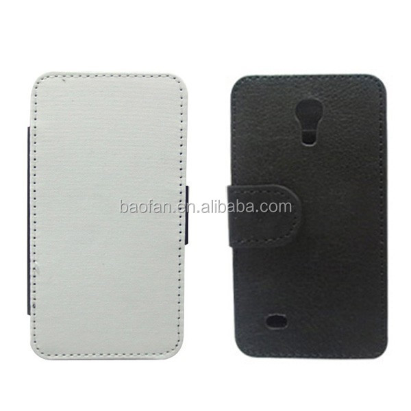 Wholesale white fabric sublimation leather flip cover for Samsung Galaxy S4 MINI