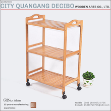 2017 modern wooden bamboo foldable kitchen storage trolley furniture/cabinet wood with wheels furniture design prices