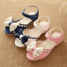 Wholesale Factory Fashion Summer Cute Peep Toe Leather Baby Girl Children New Flat Sandal Shoes