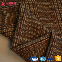 YC12275 top quality 50%wool 50%viscose coffee color twill woolen wool tartan plaid fabric for cloth
