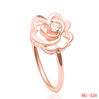 Tiny Rose Gold Plating Ring CZ Solitare Finger Ring Hollow Romantic 3D Rose Flower Wedding Ring For Lovely Girl Gift