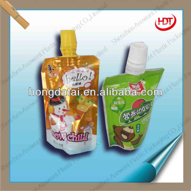 Small size stand-up pouch with spout with Nylon aluminum foil material for jelly packaging