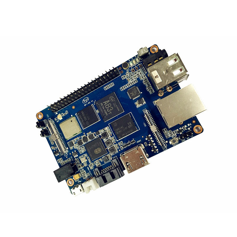 Mini video camera Banana Pi M3 power supply and HDMI cable on board