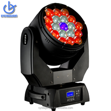Ring Controllable 19x15w RGBW 4in1 Zoom Led Moving Head Wash Light With Quiet Fan and Powercon In And Out