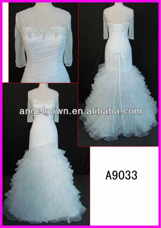chiffon mermaid guangdong latest designer wedding dress 3/4 sleeves layered bridal gown