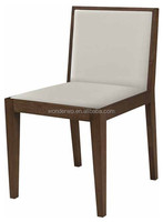leather cushion wood dining chair restaurant chair