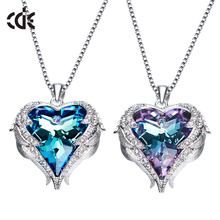 CDE 2017 fashion jewelry factory bulk wholesale crystals from Swarovski angel wings heart pendant necklace
