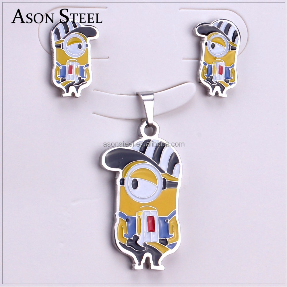 Yellow color jewellery sets gold plated children lovely Minions pendant earring sets