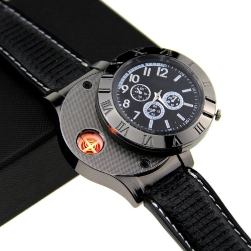 Hot Selling Military USB Lighter Watch Men's Casual Wristwatches with Windproof Flameless Cigarette Cigar Lighter watch