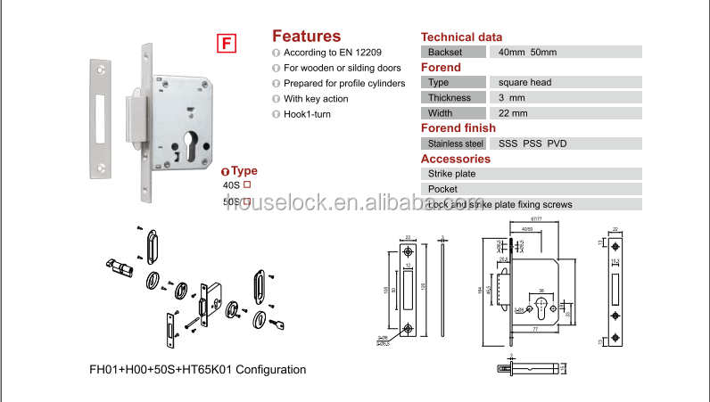 high quality sliding hook door lock