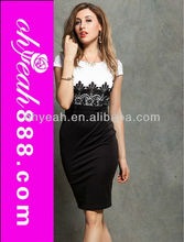 Wholesale white and black medium long latest party wear dresses for girls