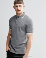 OEM wholesale men grey 100% cotton pique plain slim fit polo shirt