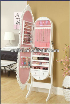2013 New Araival Hot Sale Lady Gift !!!Wooden Mirror Jewelry Cabinet