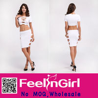 Wholesale Sex Hollow Out Two Piece Pure White Cut Out Bandage Dress