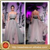 AKE-10 Gray Zuhair Murad Evening Dresses for Sale Off the Shoulder Crystal A-Line Tulle Floor-Length Long Dress