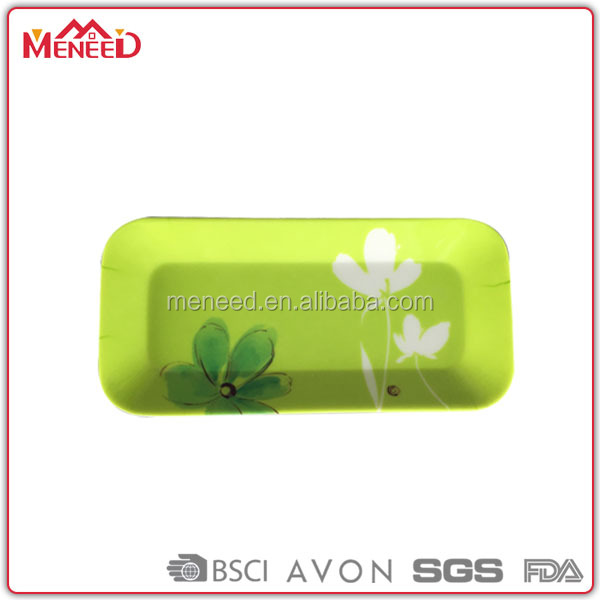 OEM accepted fancy green rectangular floral all over print melamine tea/drink/juice serving small plastic trays