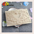 2015 alibaba hot sell popular laser cut champagne gold invitation cards with gold stamp words ribbon