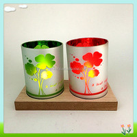Four Leaf Clover double colour and silver coated tea light holder , valentin's day decoration glass candle holder