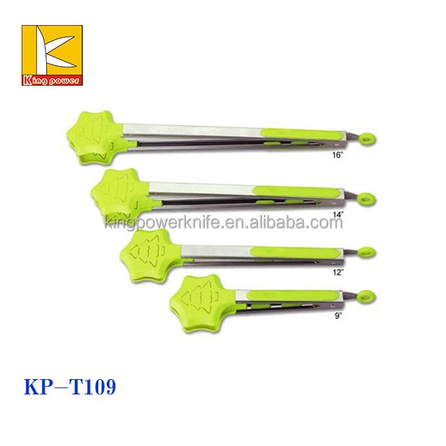 solicone and Stainless steel salad tong set