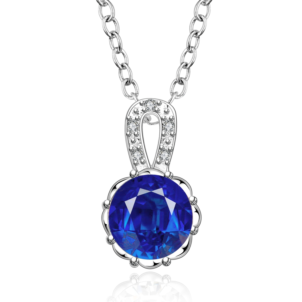 SJ Summer Jewelry Copper 925 Sterling <strong>Silver</strong> Plated Big Round White&Blue Cubic Zirconia Women <strong>Silver</strong> Solitaire Pendant Necklace