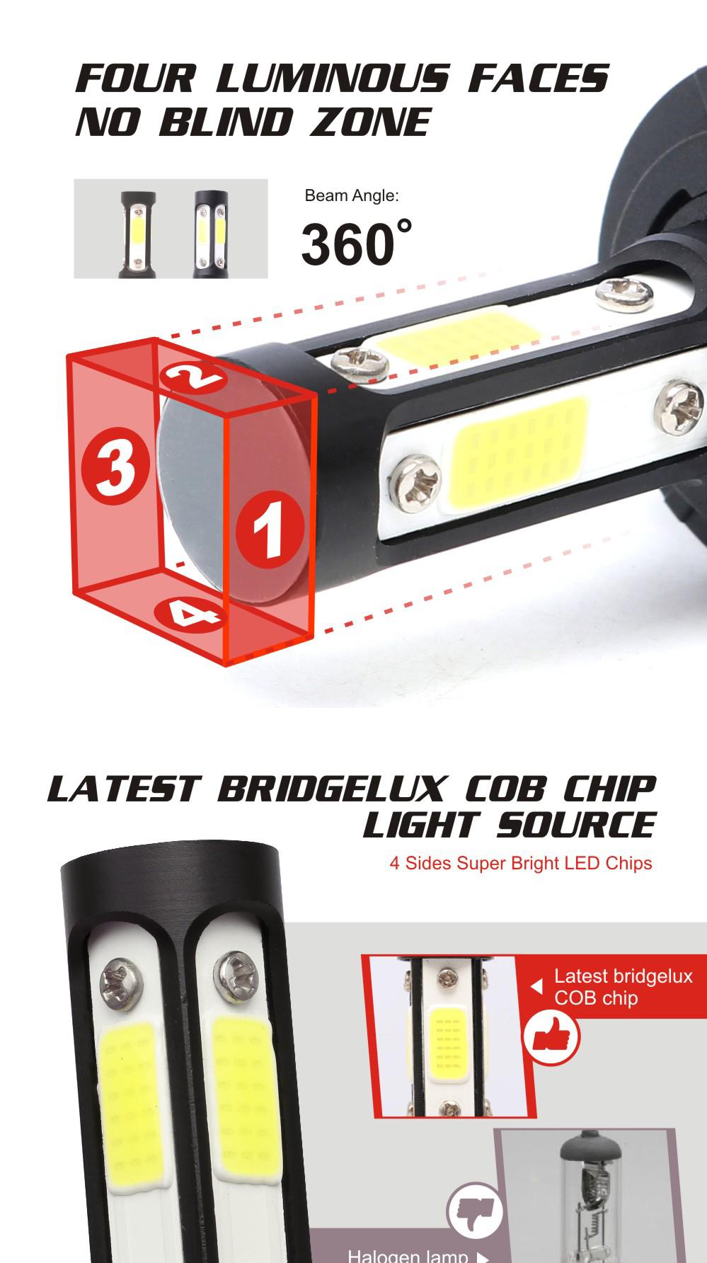 Super Lumineux Haute Basse Faisceau 360 Degrés led phare 4 côtés COB puce voiture phare led h4