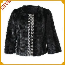 Fashion women's black short mink fur coat with jewelry