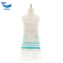 Handmade wave point lace girl dress Children's wool weaving material bag